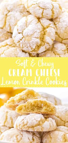 Cream Cheese Lemon Crinkle Cookies make the perfect spring dessert. These incredibly soft lemon crinkle cookies have a cream cheese base, giving them the perfect soft yet chewy lemon cookie texture. Spring Desserts, Lemon Desserts, Lemon Recipes, Banana Bread Recipes, Dessert Recipes, Spring Meals, Spring Recipes, Dessert Bars, Dinner Recipes