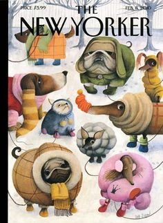 Ana Juan New Yorker Cover - Dogs in Coats