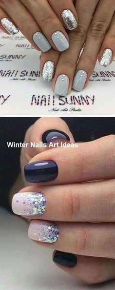 32 Great Ideas Nail Art Design for Wintry Mood Nageldesign Simple Nail Art Designs, Winter Nail Designs, Winter Nail Art, Best Nail Art Designs, Easy Nail Art, Winter Nails, Summer Nails, Nail Ideas For Winter, Diy Nails