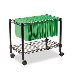 Single-Tier Rolling File Cart, 24w X 14d X 21h, Black