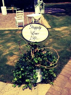 """Happily Ever After"" sign made a great addition to The Griffins' wedding decor"