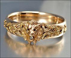 cool Victorian Bangle Bracelet 12K Gold Filled Lion Antique Jewelry Garnet Diamond Pa...