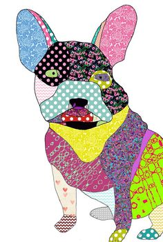 Multi-coloured dog prints at Rosie's Dog Prints, Craft Shop, Minnie Mouse, Disney Characters, Fictional Characters, Workshop, Dogs, Cards, Handmade