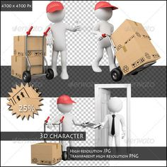 Worker Delivering a Package Bundle Worker delivering a package bundle. Rendered on a white background with diffuse shadows. The file contains a high resolution JPGs and an isolated transparent high resolution PNGs.