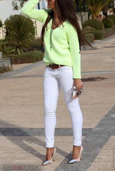 white pants + cute neon sweater