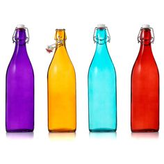 Old-world Italian glass Bottles store liquids in style. Use them for lemonade at picnics, countertop dish soap or stove-side olive oil.