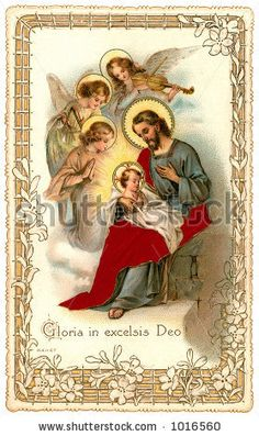 A vintage Christmas nativity greeting card with angels