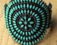 1960's  Zuni American Indian Turquoise Needlepoint Cluster Cuff, Sterling