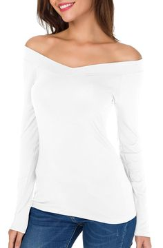 912dd969a9773 Sarin Mathews Womens Off The Shoulder Long Sleeve Tops Slim Fit Blouse  Shirts White L