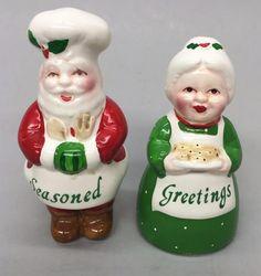 Vintage ENESCO Santa Chef & Mrs Claus Seasoned Greetings Christmas Salt & Pepper