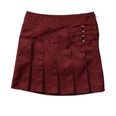 Girls 4-20 & Plus Size French Toast School Uniform 2-Buckle Solid Skort, Girl's, Size: 4, Dark Red