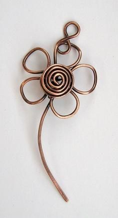 wire wrap flower pendant for necklace and earrings