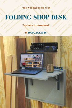 One problem with small shops is that there's never enough floor space. The same often goes for counter space. This fold-down desk project provides a simple, sturdy solution. Tap here to download this plan for free! #CreateWithConfidence #freeplan #woodworkingplan #shopdesk #folding #storage #organization