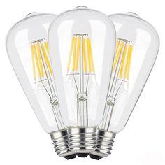 TAMAYKIM ST64 6W Antiguo de Edison Estilo Bombilla Filamento LED - 3000K Blanco Cálido 600 Lúmenes - 6 Watts Consume - Equivalente 60W - Casquillo E27 - 360° Ángulo del Haz - Non-dimmable - Pack de 3