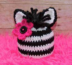 crochet animal hats   Crochet Zebra Hat-crochet, hat, animal hat, ...   Crochet for babies ...