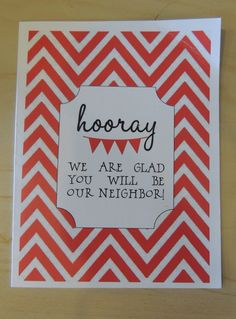 Horray we are gload you will be our neighbor | Free #Printable #Card from EasyWayApartments.com great as a #welcome card!