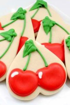 Cherry Cookies~ so smart and more transportable than a cherry cutter with a skinny stem! ::: Cherry Cookies Using a Heart Cutter, cutter ideas, By The White Library, Red Summer Cookies, Fancy Cookies, Iced Cookies, Cute Cookies, Cookies Et Biscuits, Cupcake Cookies, Cookie Favors, Flower Cookies, Valentine Cookies