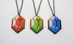 Set Of Three Legend Of Zelda Pixelated Rupee Necklaces