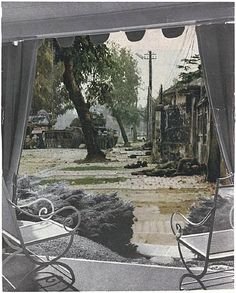 Patio View from the series House Beautiful: Bringing the War Home. Pigmented inkjet print (photomontage), printed 23 x x cm). Committee on Photography and The Modern Women's Fund. Photomontage, Kunsthistorisches Museum, Jasper Johns, Artwork Images, Through The Window, Art Institute Of Chicago, Postmodernism, Museum Of Fine Arts, Film Stills
