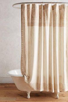 New Anthropologie Misona Shower Curtain Nwt Neutral Motif