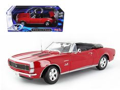 1967 Chevrolet Camaro SS 396 Convertible Red 1/18 Diecast Model Car by Maisto - Brand new 1:18 scale diecast model of 1967 Chevrolet Camaro SS 396 by Maisto. Has steerable wheels. Brand new box. Rubber tires. Has opening hood, doors and trunk. Made of diecast with some plastic parts. Detailed interior, exterior, engine compartment. Dimensions approximately L-8.5, W-5.5, H-5 inches. Please note that manufacturer may change packing box at anytime. Product will stay exactly the same.-Weight: 4…