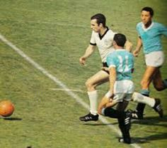 West Germany 4 Uruguay 0 in 1966 at Hillsborough. Franz Beckenbauer makes a great run in the World Cup Quarter Final.