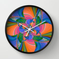 Rainbow Flower  Wall Clock by Christine baessler - $30.00