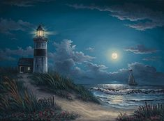 Lighthouse Painting - Night Watch by Kyle Wood Fine Art Amerika, Lighthouse Painting, Lighthouse Pictures, Seascape Art, Am Meer, Pictures To Paint, Paintings For Sale, Oil Paintings, Landscape Paintings