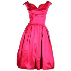 Preowned 1950's Frank Starr Magenta Satin Cocktail Dress ($595) ❤ liked on Polyvore featuring dresses, cocktail dresses, red, vintage satin dress, red cocktail dress, vintage cocktail dresses, off the shoulder cocktail dress and red vintage dress