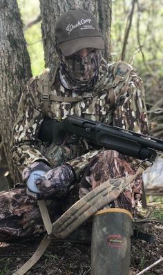 Turkey Hunter in Early Season Woodland Camo by Duck Camp