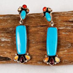 Long V&C Hale Turquoise Rainbow Cluster Earrings Sterling Silver Native American