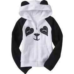 Old Navy Girls Micro Performance Fleece Graphic Hoodies ($15) ❤ liked on Polyvore featuring baby, kids clothes, hoodies, panda, tops and kids