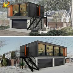 Container House Small Shipping Container Homes with Garage Who Else Wants Simple Step-By-Step Plans To Design And Build A Container Home From Scratch? Storage Container Homes, Building A Container Home, Container House Plans, Container Cabin, Container Gardening, Cargo Container, Container Pool, Container Store, Container Company