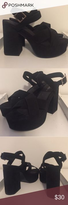 Chunky platform Dope chunky platform sandals , suede black super sturdy , I really wish these fit me  they fit like a size 8 box says 7.5 I'm a 9 and they fit but the back of my foot is sticking a lil out  any ways lol  there super cute  not Topshop but same vibe Topshop Shoes