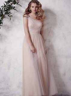Graceful Plus Size A-line Full-length Tulle One-shoulder Bridesmaid Dress on Sale With USD$ 97.59 : Weddingshe.com