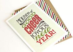 Christmas Card Set, Typography Card, Holiday Cards // Set of 6 //  HOLIDAY TYPE. $12.00, via Etsy.