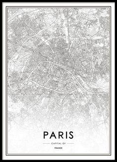 Paris karta tavla. Snygga affisch, poster med karta över Paris stad. 30x40, 50x70. Från 129kr