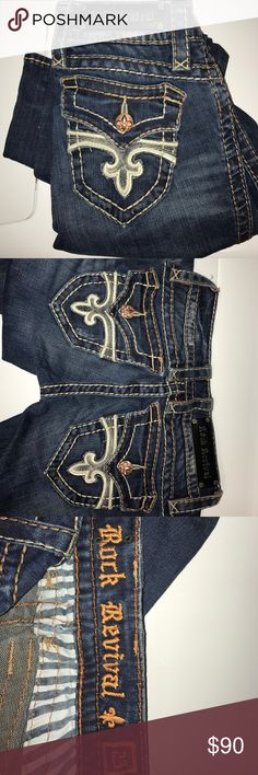 Rock Revival jeans Gently worn rock revival jeans! Slight wear on the back at the very bottom(shown in picture). Super cute, but I will never fit in them again. Open to offers! 💖 Rock Revival Pants Boot Cut & Flare