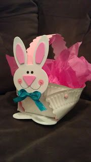 Bunny Easter Basket Craft...so sweet & easy to make.  The kids will love it!