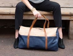 Make a statement with this sustainable cork and denim travel bag.