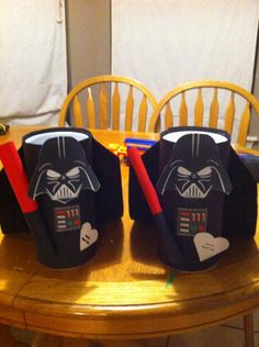 """Darth Vader Valentine """"boxes"""". Made from a Clorox wipe container, card stock, and a felt cape! """"Join the Heart Side"""""""