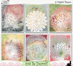 """Shabby stenciled """"gesso"""" layers are featured on these printable art papers featuring distressed digitally painted backgrounds. Instant download collection of 6 - 8.5"""" x 11"""" papers in blue, green, yellow, pink and red. (1322) $2.50"""