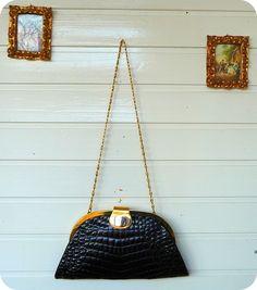 Vintage Nierhaus Tasche Schultertasche Bag Handtasche Clutch Abendtasche Kroko in Kleidung & Accessoires, Damentaschen | eBay