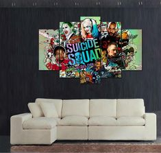 Suicide Squad 5 Panel Canvas Wall Art Print  #home #art #wall #canvas #arrow #socksi #justiceleague #spiderman #starwars #tvshows Canvas Frame, Canvas Wall Art, Wall Art Prints, Framed Prints, Canvas Prints, Squad, Spiderman, Movies, Pictures