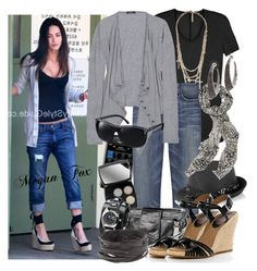 Celebrity Style: Megan Fox by sourcat on Polyvore featuring moda, Bassike, Vince, Current/Elliott, KORS Michael Kors, Natalia Brilli, Atelier Swarovski, Forever 21, Queen and Belle and Eugenia Kim
