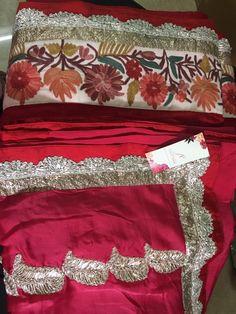 Red Silk crepe saree