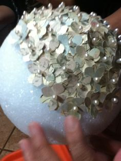This is not that cute but I think I could make something pretty with this idea . . . DIY Vintage bridal shower decor.. : wedding bridal shower centerpieces chic diy retro vintage Diy Bridal Shower Ball