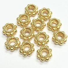 Vermeil Spacer x - 9133 Metal Beads, Jewelry Supplies, Artisan, Bracelets, Unique, Gold, Vintage, Handmade Accessories, Craftsman