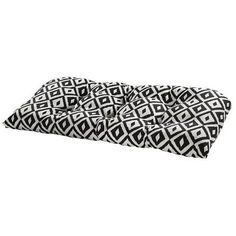 Aztec Black Outdoor Settee Cushion (Black - Rectangle - Polyester), Outdoor Cushion