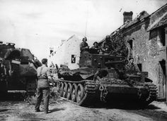 A Cromwell of the Polish Armored Division rolls through a French village on the way to Mount Ormel (Hill in the final phase of the Battle of Falaise Pocket. Late August A disabled. Cromwell Tank, Crimean War, Armored Fighting Vehicle, Austro Hungarian, Ww2 Tanks, Army Life, Thing 1, World Of Tanks, Battle Tank